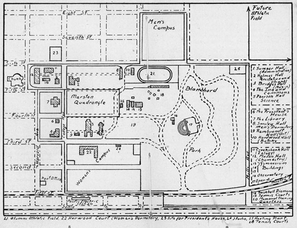 From The Handbook 1929 1930 Campus Map Pomoniana