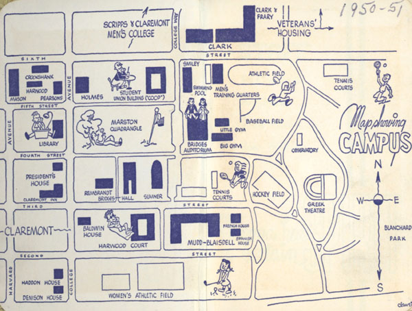A Fun Campus Map From The 50s Pomoniana