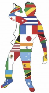 A singing silhouette with many countries' flags