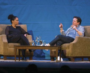 Professor Nicole Weekes and Michael J. Fox in conversation on-stage