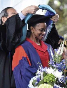Esther receives an honorary degree at Pomona's 2019 Commencement