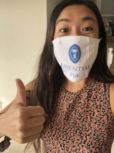 Modeling the PPE's new PPE in the photo above is Rachel Oda '20