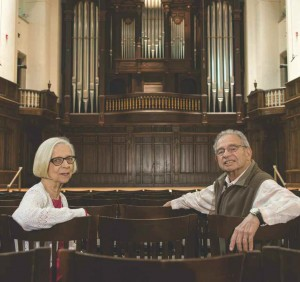 Photo of composer and Professor Emeritus Karl Kohn and his wife, Margaret Kohn, in Little Bridges