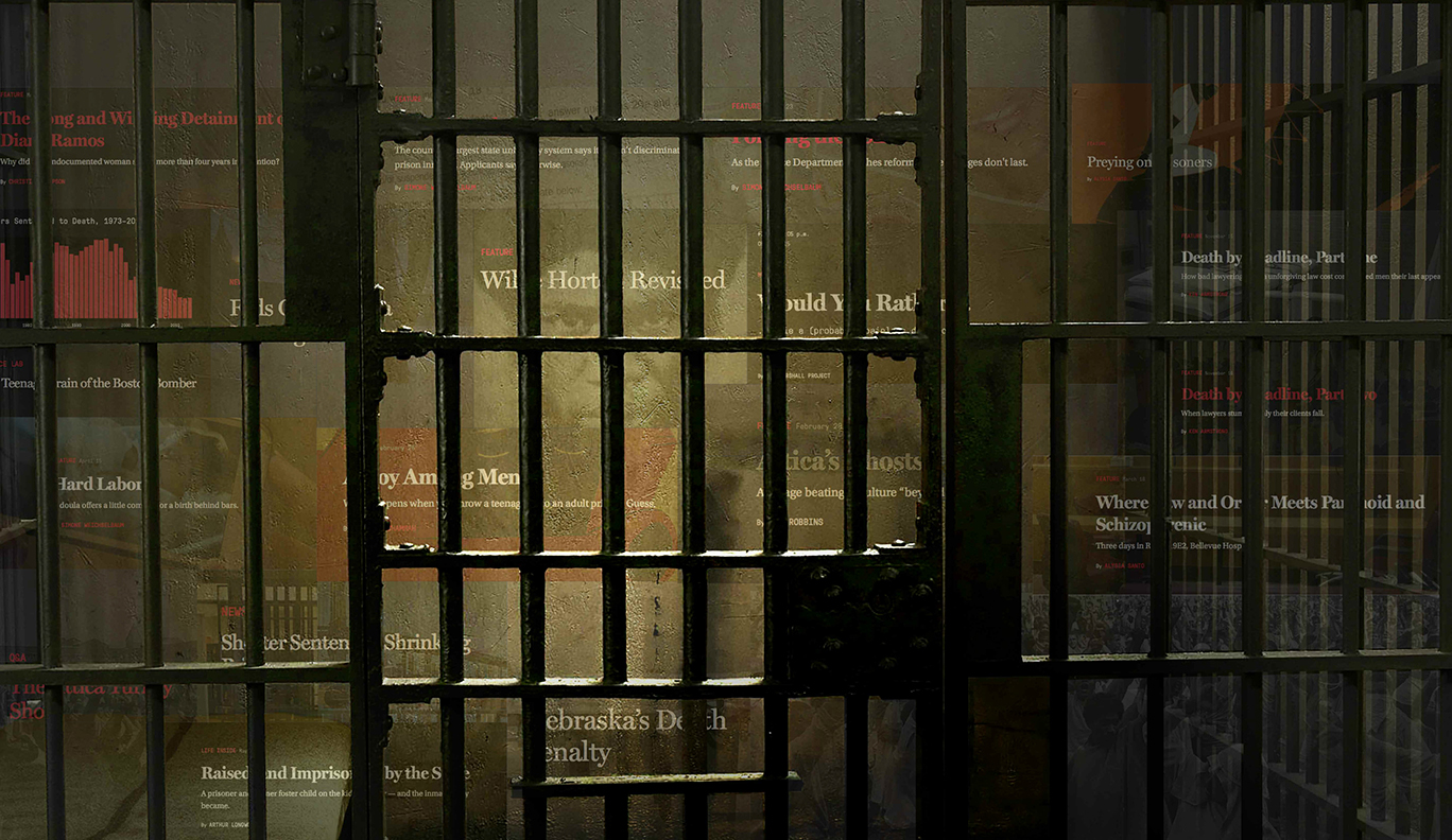 Photo illustration of prison bars with headlines from the Marshall Project website
