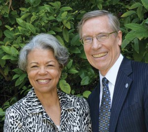 Photo of Outgoing Board Chair Jeanne Buckley '65 with President David Oxtoby