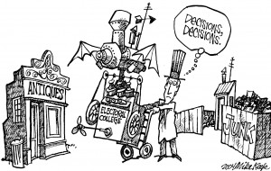 A political cartoon in which a man is deciding to take the electoral college to the antiques store or to the junk pile