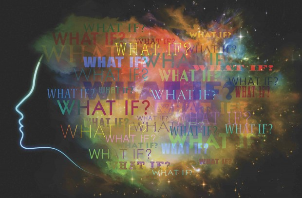 """What If?"" repeated over a galaxy background"