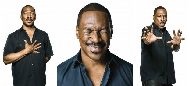 Eddie Murphy posing in 3 images