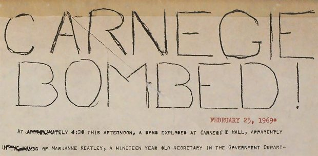 Special hand-drawn TSL after the Carnegie bombing in 1969