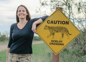 "Swarts with one of several ""Ocelot Crossing"" signs on the refuge"