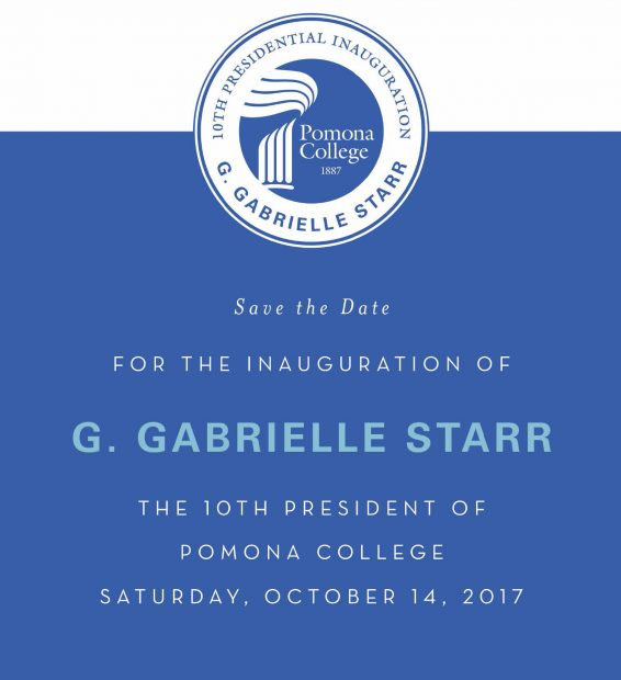 Save the Date - Inauguration of G. Gabrielle Starr