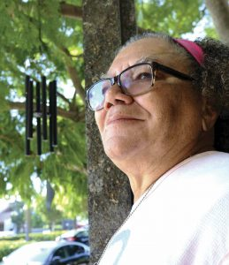 Bridges remembers finding comfort on a bench outside her church, the Agape International Spiritual Center, where she could listen to the wind chimes.