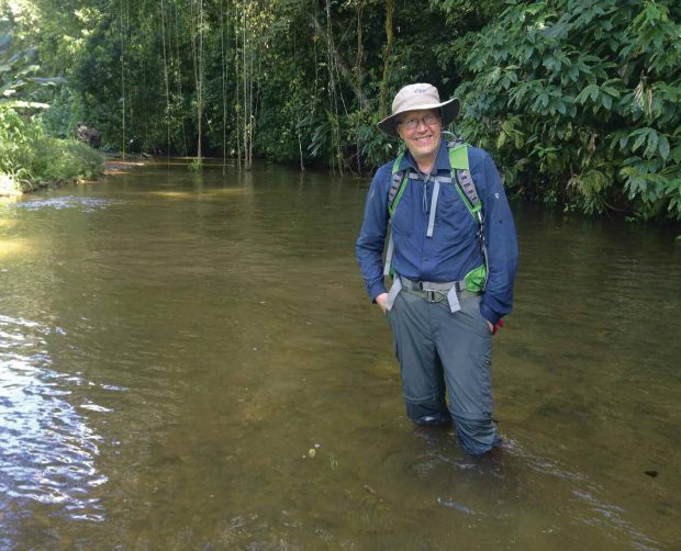 Douglas Preston '78 in the unnamed river deep in the Honduran jungle