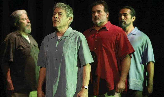 Tomás Sandoval Sr. (second from left) in a scene from Ring of Red: A Barrio Story.