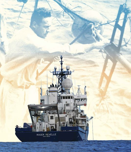 Photo-illustration combining a photo the R/V Roger Revelle at sea and a photo of Roger Revelle '29 at work on another research vessel many years before.