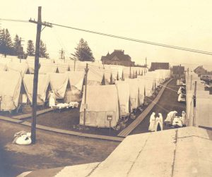 Rows of tents at Emery Hill in Lawrence, Massachusetts, where victims of the 1918 influenza pandemic were treated. —Photo courtesy of the National Archives