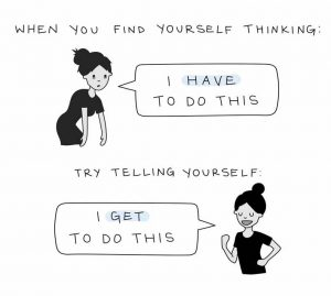 When you find yourself thinking: I HAVE to do this; Try telling yourself: I GET to do this