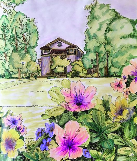 This rendering of last issue's coloring challenge was submitted by Boston architect Harriet Chu '76.