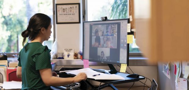 Chemistry Professor Jane Liu conducts a Zoom class in Biochemistry from her office in Seaver North.