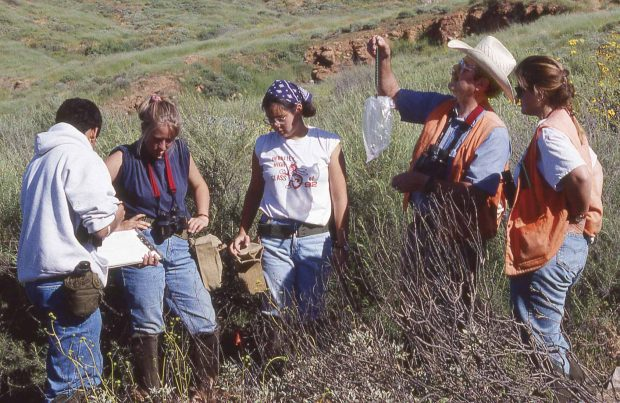 Professor Bill Wirtz leading an animal-trapping expedition with students at Marine Corp Base Camp Pendleton near San Diego. —Photo by Helen Wirtz
