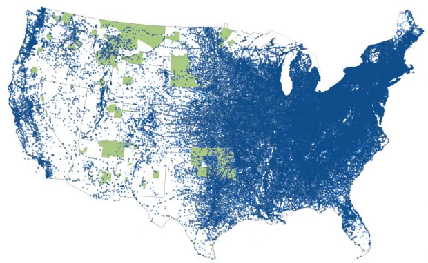 USA native land reservations in 1893 compared to 59,000 post offices spanning the U.S.