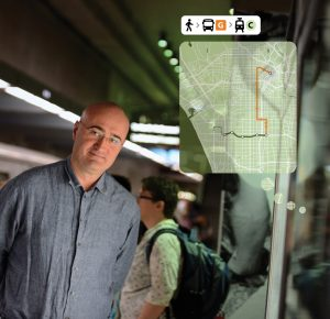 Jarrett Walker '84 photographed in a Los Angeles Metro station in 2013